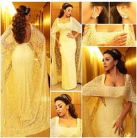 Myriam Fares Lace Celebrity Dresses Sequins Beading Yellow Color Square Neckline Fancy Cape Cloak Mermaid Lace Prom Evening Gowns