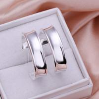 brincos de forma c venda por atacado-Alta Qualidade de prata 925 esterlina C forma suave das Mulheres Hoop brincos prata brincos E078