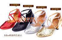 Wholesale Shoes Heels Black Golden - Wholesale-Free shipping 4 colours lady ballroom latin rumba samba tango dance shoes women gold silver shoes 5.5cm high heeled 35-40 h-0179
