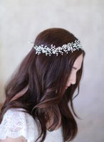 Wholesale Elegant Wedding Bridal Jewelry Headpiece - 2016 Bohemian Bridal Tiara Wedding Jewelry Pearls Hair Accessories Elegant Headpieces Frontlet Hair Band headbands for Bridal CPA457