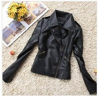 Wholesale Ladies Black Leather Coats - 2016 Spring New Fashion Black Lapel Handsome Motorcycle Leather Jacket Women Short Slim Lady PU Coat PBZ016