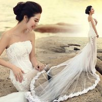 Wholesale Tull Wedding Dresses Sleeves - 2015 Charming Wedding Dresses A-line Lace-up Srapless Princess Floor Length Tull Lace Cool style Applique beads Sequin for Wedding