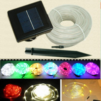 Wholesale Led Neon Rope Light Wholesale - Solar Tube String Light 12M 100 LED Solar Powered Garden Neon Rope Light Round Panel Solar Lamps Solar Strings Led Strips Solar Strips