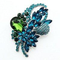 Wholesale Gem Crystal Brooch - Free postage 2016 new women's fashion wild gem crystal rhinestone brooch wedding bouquet wholesale promotion