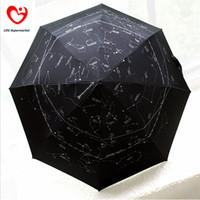 Wholesale Black Rain Umbrella Man - Wholesale-Galaxy Constellation Style 3 Fold Automatic Women Men Sun Uv Protection Black Large Rain Umbrellas For Sale Big Size Parasol