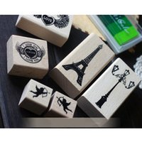 Wholesale Stamp Eiffel - Retro European Eiffel Tower Love Heart DIY Wood Stamp Diary Seal Decoration Scrapbooking Stamp Creative Stationery 6pcs SK784