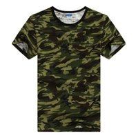 Wholesale Military Tees - Wholesale-Summer Outdoors Hunting Camouflage T-shirt Men Breathable Army Tactical Combat T Shirt Military Dry Sport Camo Outdoor Camp Tees