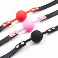 Wholesale Gags For Bondage - bdsm Mouth Gag Faux Leather Bondage Belt with Full Silicone Ball Sex Slave Apertural Plug Adult Games Fetish Sex Toys for Couple