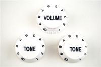 botón de control negro al por mayor-Tono blanco Negro de fuente 1 Volume2 Perillas de la guitarra eléctrica de control perillas para Fender Strat estilo libre de la guitarra del envío al por mayor