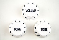 Wholesale Strat Guitar White - White Black Font 1 Volume&2 Tone Knobs Electric Guitar Control Knobs For Fender Strat Style Guitar Free Shipping Wholesales