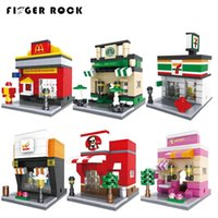 Wholesale Brick Apple - 26 Styles Optional City Mini Street Series With figures DIY Building Blocks Bricks Toys Models Apple Store McDonald`s Gift