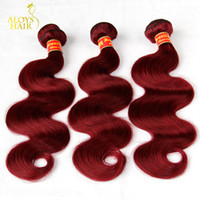 Wholesale Hair Extension Red - Burgundy Brazilian Virgin Hair Weaves Bundles Wine Red 99J Brazilian Virgin Hair Body Wave 3Pcs Tangle Free Remy Human Hair Extensions Weft