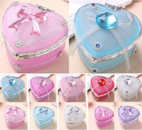 Wholesale Small Crystal Nail Art - Candy Boxes Heart Shaped Imported Glass Jewelry Box Rhinestones Crystal Bowknot Small Part Storage Case Nail Art Container Organzier