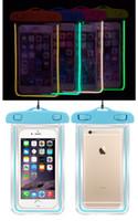 prueba de agua de la nota al por mayor-Funda impermeable transparente universal claro LED Funda impermeable a prueba de agua Funda impermeable para iPhone 5S 6 más Galaxy S6 edge Nota 4