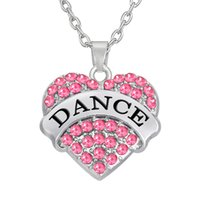 Wholesale Pendant Messages - Hot Sale Rhodium Plated Message Pendant Zinc Alloy Alphabet DANCE Rhinestone Heart Charm Necklaces Jewelry Wholesale