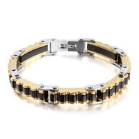 Wholesale indian men gold chain design for sale - Classical Party Style Fine Gift g High Quality Men design Silver Black Gold Stainless steel Link Chain Bracelet Fashion Gifts