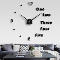 flache wanduhr großhandel-DIY Haushalt Stille Große EVA Wanduhr 3D Aufkleber Mode Große Größe Spiegel Wandaufkleber Uhren Wohnzimmer Dekoration