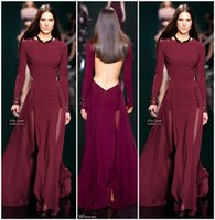Wholesale Cheap Elegant Elie Saab Dress - Elie Saab 2016 New Pageant Runway Dresses Backless Long Sleeve Elegant Prom Dress Sexy Party Gowns Open Back Vestidos Evening Gowns Cheap