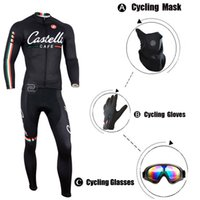 Wholesale-Winter-Vlies-Pro Ropa Ciclismo Invierno / Cycling Bike Bekleidung / Fahrrad Ropa Ciclismo + volle Finger-Handschuhe + Black Mask + Glasses