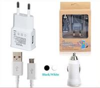 araba şarj cihazı cep telefonu s5 toptan satış-S4 için / S5 Mikro USB Kablosu 3 1 Kitleri Mini USB Bullet Araç Şarj AB / ABD Duvar Şarj Adaptörü Samsung S4 S3 S5 HTC Cep telefonu US0