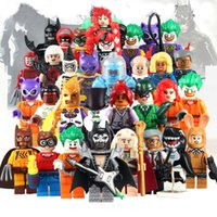 Wholesale Children Plastic Blocks - 32Pcs lot Marvel Super Heroes Joker Harry Quinn BAT Figures Robin MAN The Avengers Building Blocks Minitoy Bricks Gift Toys for Children