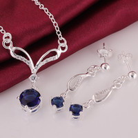 Wholesale Necklaces Purple Stones - High Quality 925 Sterling Silver Blue Zircon Jewelry AAA Crystal Stone Necklace+Earrings Jewelry set
