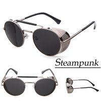 Wholesale Designer Geek Glasses - Wholesale-2015 Mens Sunglasses Brand Designer Steampunk Goggles Vintage Geek Hipster Round Sun Glasses For Men Oculos De Sol Masculino