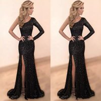 Wholesale Sparkly One Shoulder Homecoming Dresses - Sparkly Sequined Black One Shoulder Prom Dresses 2018 High Side Split Sexy Mermaid Evening Dress Sweep Train Cheap Homecoming Party Gowns