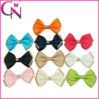 "Wholesale Small Grosgrain Bows - 30Pcs lot 3""Small Hairbow With Rhinestone Grosgrain Hair Bows With Clip Girls Bling Hair Accessories Ribbon Bow Free Shipping CNHBW-1505125"
