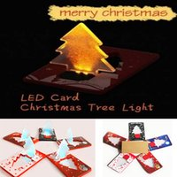 Wholesale Led Greeting - LED Card Light Christmas Tree Folding Card Lamp Pocket Bulb Wallet Card Gift Greeting Cards Christmas Decorations HH7-281