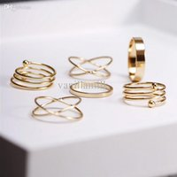 Wholesale Wholesale Stackable Rings - Wholesale-punk gold plated stackable Knuckle midi rings for women Finger Ring bague Ring Set anillos mujer anel