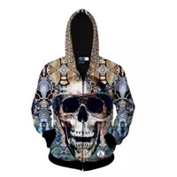 Wholesale Hiphop Outfit - Teenager Hoodies College Jacket 3D Mens Jackets Skulls Cotton Autumn Coat Trendy Swag Clothes Unisex Couple Outfit Hiphop Sport