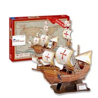Wholesale Ocean Jigsaw Puzzles - Colourful Carboard Jigsaw Model 3D Puzzle Santa Maria Ocean sailing DIY Xmas Gift Toys for childrens day Learning Education