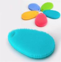 ingrosso ciotola di spazzola-Lavamani Lavamani in silicone Scovolini per la pulizia Scovolo Pad Pot Pan Wash Brush Cleaner Kitchen Cleaning 100Pcs