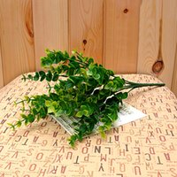 Hot New Green 7-Branches Artificial Falsos Floral Plástico de seda Plástico de Eucalipto Flores Cafe Office Home Table Decor