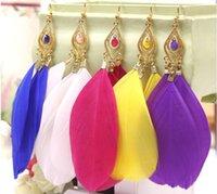 Wholesale Dangle Feather Earings - vintage the feather earrings for women female wholesale charm jewelry fashion earings Free shipping