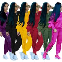 Wholesale Top Blouse Pant Set - Womens Two Piece sweatsuits outfits Long Sleeved Tops Blouse Shirt Sweatshirts with Long Pants Sets Ladies Casual Solid Color Suits