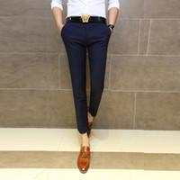 Wholesale Men Suits For Work - Wholesale-2015 summer business Business Casual Men's Silk Double Pleats Suit Pants For Man Straight Work Pants Trousers Male Anti