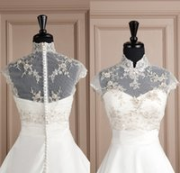 Tulle black and white bolero jacket - 2015 New Gorgeous Embroidery Bridal Jackets from Eiffelbride with Shining Beaded Pearls High Neck and Elegant Covered Button Wedding Jackets