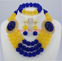 Wholesale Cheap Beads Pearls Necklaces - Cheap Costume Jewelry 18K Gold Plated Fashion Nigerian Wedding African Beads Jewelry Set Crystal Choker Statement Necklace Sets BC302-3