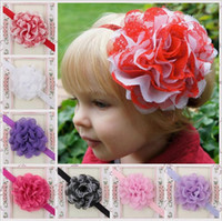 Wholesale Mesh Hair Bows - Children Hair Accessories Baby Girls Large Mesh flower Headbands bow with Ruffled Chiffon Flower Fashion Elastic Hair Bands KHA85