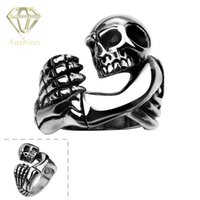 Nuevo Punk Skeleton Claws Hug Embrace Ring Rock Jewelry 316L Cráneo de Acero Inoxidable Anillos de Boda Regalo de Halloween