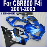 Wholesale Cbr F4i Custom Fairings - blue black custom for 01 02 03 HONDA CBR 600 F4i fairings INJECTION MOLDED CBR600 F4i 2001 2002 2003