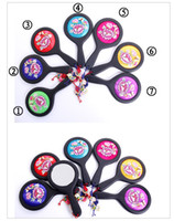 Wholesale Mirror Compact Silk - New Arrive Fine Hand Embroidery Handle Compact Mirror Gifts High quality Silk Peony Portable Makeup Mirrors with Boxes