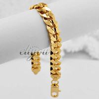 Barato Ouro Cheio Pulseira Freio Link-9mm New Fashion Jewelry Homens Mulheres Curb Cuban Link Chain 18K Amarelo Gold Filled Bracelet Gold Jewellery Frete Grátis C08 YB