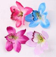 orkid kafaları toptan satış-11 cm ipek orkide çiçek başları için Yapay Çiçekler düğün tatil malzemeleri aksesuarları DIY çiçekler 50 adet / grup