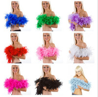 Wholesale Wholesale Ostrich Feathers Boas - 200PCS 40g 2M Wedding Decorations Party Holiday Pub Ostrich Feather Boa Fluffy Flower Costume Plume Centerpiece Dance Performance