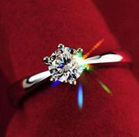 18 k swarovski kristal elmas yüzük toptan satış-En iyi Severler Hediye Whited Altın Kaplama Kullanımı Swarovski Kristal Elmas Simüle 1ct Gelin alyans Hediye Büyüleyici Takı