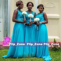 Wholesale Turquoise Bridesmaid Dresses Design - 2016 Turquoise Long Bridesmaid Dresses Lace Appliques Beaded A Line Design Chiffon Scoop Neckline Sweep Train Cheap Prom Dresses Custom Made