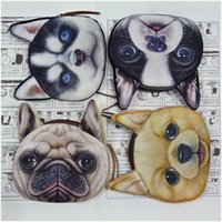 Wholesale Cheap Wallets Change Purses - 3D Printing wallets Ha sunkist Border Collie Pug Dog Coin Purses Fashion Purse Wallet handbag Cute Change Bags Zipper for women men cheap